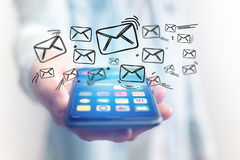 Concept of sending email on smartphone interface with message ic Stock Photography