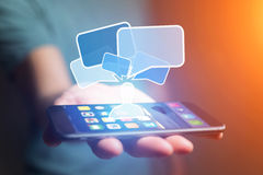 Concept of sending email on smartphone interface with message ic Royalty Free Stock Image