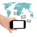Concept of sending message wireless using smartphone Stock Image