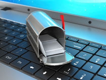Concept of sending and receiving e-mail from. Your computer. 3D illustration Royalty Free Stock Photography