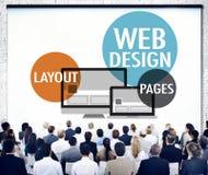 Concept sensible de site Web créatif satisfait de web design Photos stock