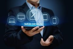 Concept sensible de technologie d'Internet d'affaires de site Web de Desing de Web images libres de droits