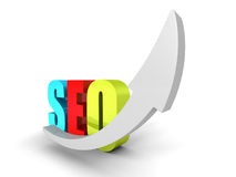 Concept SEO Colorful Text Word With Rising Up Arrow Stock Image