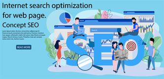 Concept SEO, market research Web site coding vector illustration