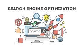 Concept seo optimization in search engine. vector illustration