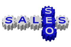 Concept: SEO and Sales. 3D rendering. Stock Image
