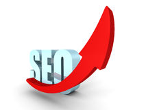 Concept SEO Text Symbol With Arrow Pointing Up. 3d Render Illustration Stock Images