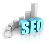 Concept SEO Text Word With Growing Rising Up Chart Graph Stock Image