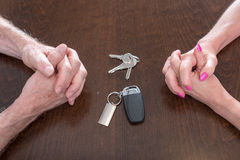 Concept of separation of a couple. With house and car keys Royalty Free Stock Images