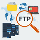 Concept server FTP connection. Vector concept internet FTP connection. Big magnifier, server icons, folder with documents and computer with user avatar on Royalty Free Stock Photos