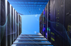 Concept server room of data center and building exterior wall under the blue sky Stock Images