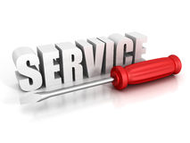 Concept SERVICE text with red screwdriver on white background Stock Images