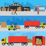 Concept of services delivery goods, loading and unloading of goo Stock Photo