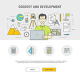 Concept set outline flat design geodesy and development Stock Image