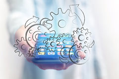 Concept of setting a technology interface with cogwheel - Gear w Stock Photos