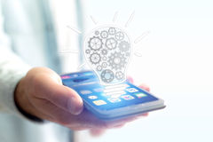 Concept of setting a technology interface with cogwheel - Gear w Royalty Free Stock Photos