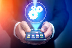 Concept of setting a technology interface with cogwheel - Gear w Stock Photo