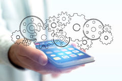 Concept of setting a technology interface with cogwheel - Gear w Royalty Free Stock Image