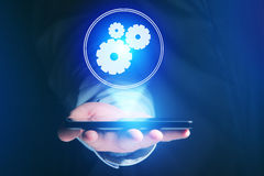 Concept of setting a technology interface with cogwheel - Gear w Royalty Free Stock Photography