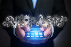 Concept of setting a technology interface with cogwheel - Gear w Stock Images
