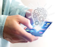 Concept of setting a technology interface with cogwheel - Gear w Stock Image