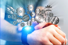 Concept of setting a technology interface with cogwheel - Gear w Stock Photography