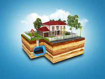 Concept of Sewerage in a private house 3d render on blue Stock Photo