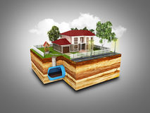 Concept of Sewerage in a private house 3d render. On grey Royalty Free Stock Images
