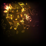 Concept of shiny musical notes. Royalty Free Stock Images