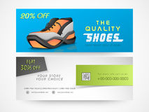 Concept of shoe sale header or banner. Stock Photos