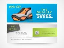 Concept of shoe sale header or banner. Stock Photos
