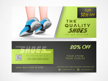 Concept of shoe sale header or banner. Royalty Free Stock Image