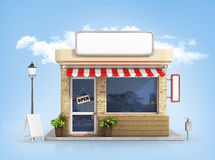 Concept of shop. Store with copy space board on the sky backgrou. Nd stock illustration