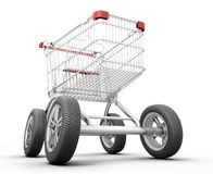 Concept shopping cart with car wheels Royalty Free Stock Photography