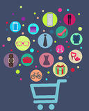 Concept Shopping. The cart with clock, shoes and dresses Stock Photography
