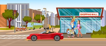 The Concept Shopping Mall downtown on the Road royalty free illustration