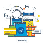 Concept of shopping, mobile marketing and payment methods. Royalty Free Stock Photo