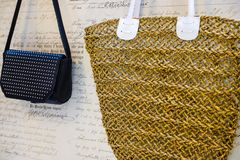 The Concept Of Shopping. Shopping bags. Wicker bag for products. royalty free stock photo