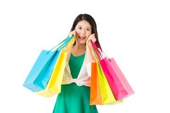 Concept of shopping woman with bags Stock Photo
