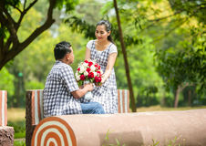 Concept shot  of Asian young couple in love . Royalty Free Stock Photos