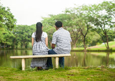 Concept shot  of Asian young couple in love . Stock Photo