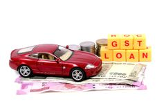 Gst and auto loan. Concept shot of gst taxes on auto industry Stock Image