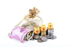 Gst taxes. Concept shot of gst taxes on white background Stock Photos