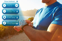 Concept Shot Of Man Checking Notifications On Health Tracker Stock Images