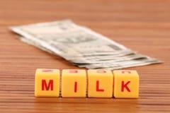 Milk expenses stock photo