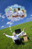 Man Dreaming Family Vacation Holiday Desk Green Field. Concept shot of a senior male men executive bussinessman sitting at work desk in field, arms raised Stock Image