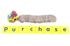 Purchase. Concept shot showing purchase spelled on white background stock photography