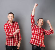 Concept of showing own success with man pointing at himself Stock Photo