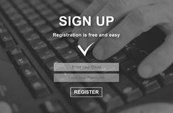 Concept of sign up. Sign up concept illustrated by a picture on background royalty free stock photography