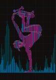 Concept of a skateboarder and digital equalizer. Stock Image
